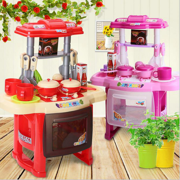 top popular Wholesale- Kids Kitchen set children Kitchen Toys Large Kitchen Cooking Simulation Model Play Toy for Girl Baby 2021