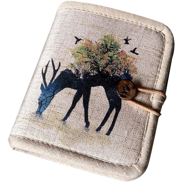 Algodón y lino con diseño corto, 2 pliegues, para mujer, carteras y monederos, monedero, tarjeta de dólar de dinero fino, W13