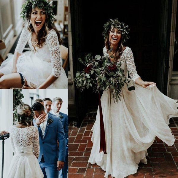 2018 Two Pieces Beach Boho Wedding Dresses Long Sleeve A-Line Chiffon Ruffle Lace Top Summer Wedding Gown Custom Made Bohemian Bridal Gowns