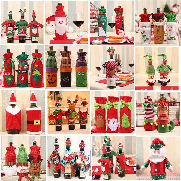 Santa Claus Wine Bottle Cover Gift Reindeer Snowflake Elf Bottle Hold Bag Case Snowman Xmas Home Christmas Decoration Decor HH7-1355