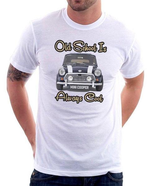 Mini Cooper Old School ist immer cooles Geschenk für Papa weißen Tshirt OZ9186