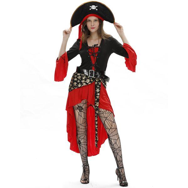 costumi di Halloween per adulti Designer Halloween Women Clothes Caribbean Pirati Captain Queen Rave Party Carnival costumi Cosplay