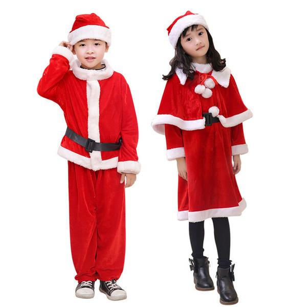 Neujahr Baby Red Boy Mädchen mit Hut Weihnachten Santa Claus Kostüme für Kinder Kinder Weihnachtsfeier Kostüm mit Kap