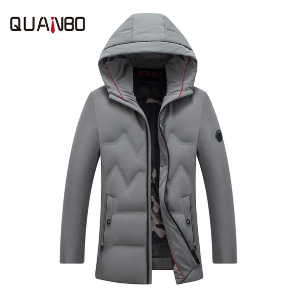 QUNABO 2018 High Quality Winter Jacket 90% White Duck Down Warm Thick Winter Down Jacket Men's Hooded Youth Zipper Coat