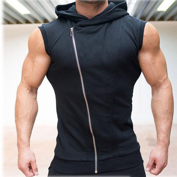 Mens Hoodies Sleeveless Mit Kapuze Bodybuilding Fitness Weste Hoodie Sweatshirts Tops Masculina Hombre Muskel Sportwear Trainingskleidung Für Mann