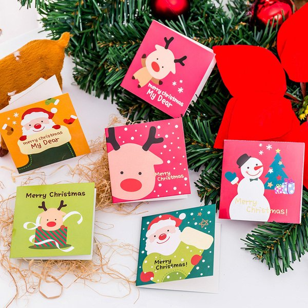 Christmas Greeting Cards Images.Mini Christmas Greeting Card With Red Envelope Snowman Santa Deer Printing Paper Card Party Birthday Invitation Diy Postcard Gift For Kids Xmas Cards