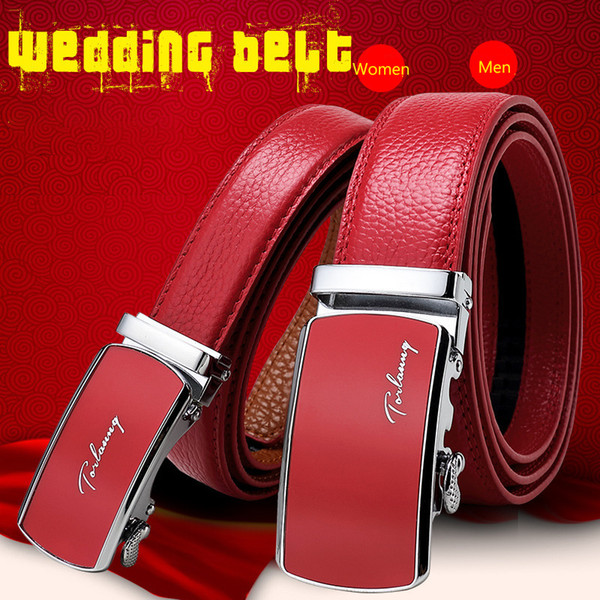 Designer Weddin for Men Belts Genuine Leather Famous Brand Automatic Buckle Male Belt Red Strap Luxury Womens Belt Woman