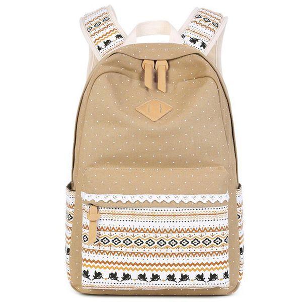 Retro Tribe Dots Printed Women Backpack Anti-theft Laptop Backpacks Canvas School Bag Bookbag For Girls Daypack