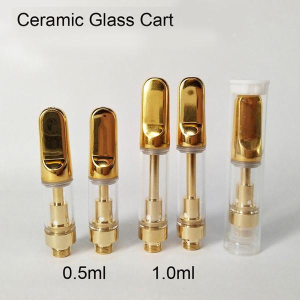 Atacado Cor de Ouro Gotejamento De Cerâmica ponta Óleo Vaporizador Tanque TH205 Cartucho Atomizador Com Bobina De Cerâmica 0.5 ml 1.0 ml Pirex De Vidro Vaporizador caneta