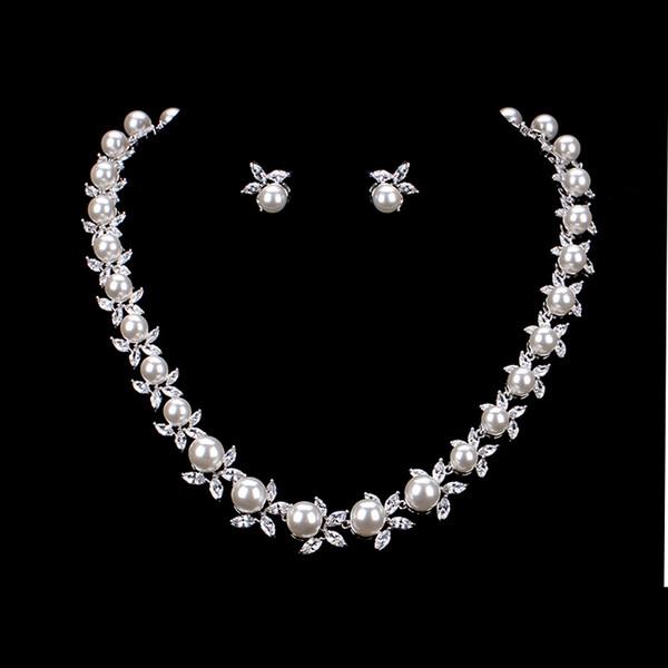 Imitação de alta Qualidade Pérola Zircônia Cúbica Flor De Cristal Colar Brinco Conjunto de Jóias de Casamento Nupcial para As Mulheres