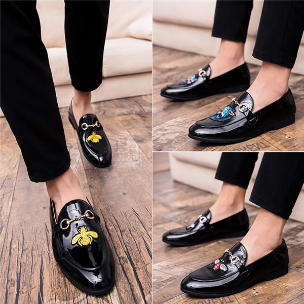 2018 Hot Sale Man Pu Dress Shoes Spring Autumn Mens Black Shoes Comfortable Elegant Footwear Slip-On Suit Shoes For Male