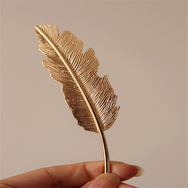 New Classic Women Vintage Feather Barrette Metal Lady bobby pin Hair Jewelry Hair Pin Hair Clip Silver Color Barrettes