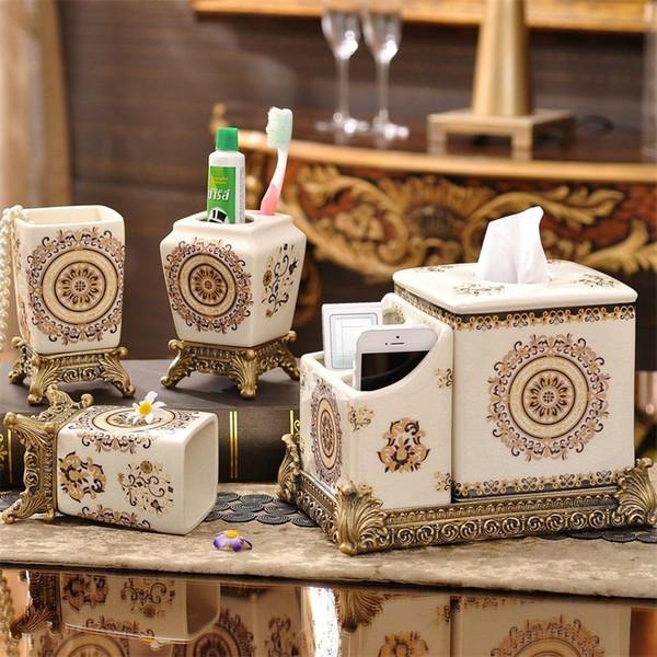 Luxury Style Bath Accessory Set Five Piece Suit Soap Bottle Household Elegant Exquisite Ceramics Gift For Bathroom 115fy ZZ