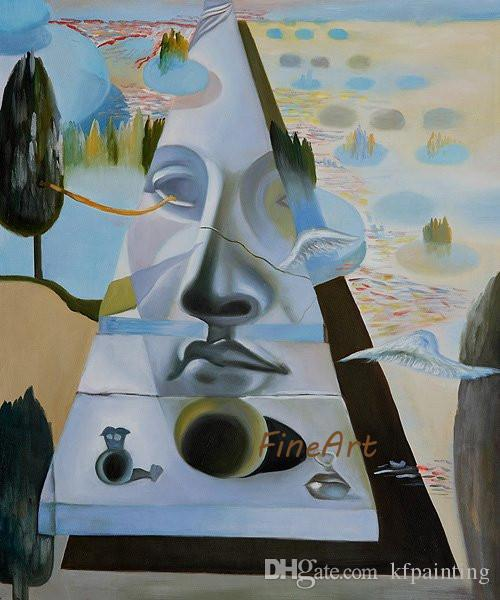 100% dipinto a mano famosi artisti pittura su tela riproduzione astratta viso salvador dali pittura di arte della parete dipinti ad olio su tela handmade
