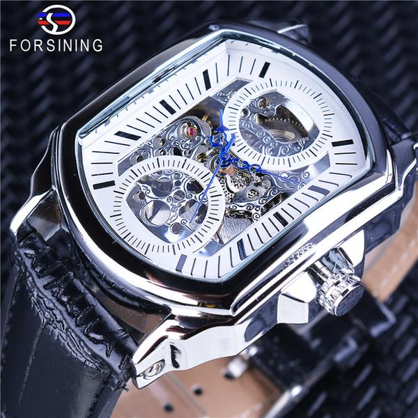 Forsining retro clásico blanco esfera azul manos a cielo abierto reloj de pulsera esqueleto automático hombres relojes mecánicos marca de lujo superior