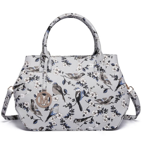 Vintage ladies and girl structured matte oilcloth shoulder bag satchels handbags crossbody bags flower and bird Gray color