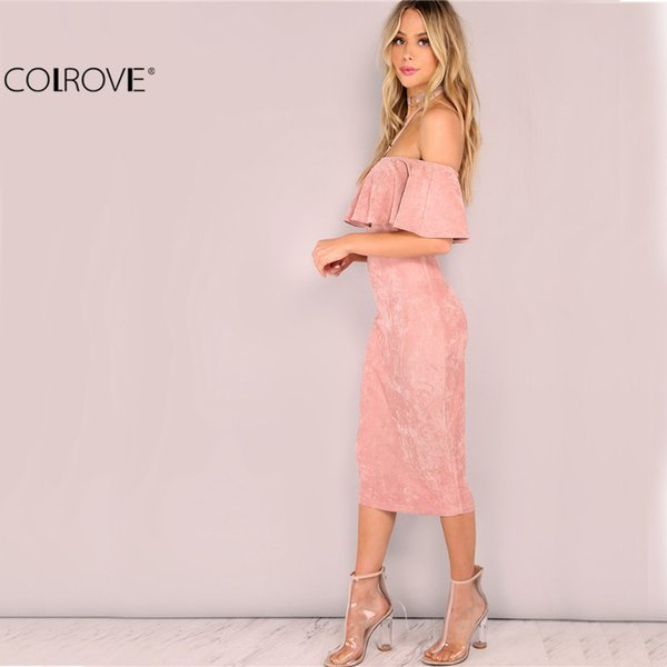solid new women party dresses elegant evening club dresses backless midi pink faux suede off the shoulder ruffle dress