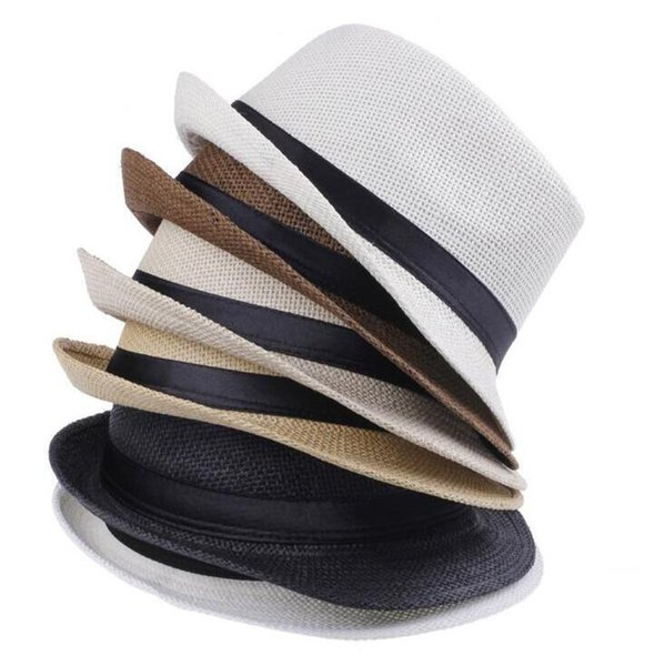 Fashion Hats for Women Fedora Trilby Gangster Cap Summer Beach Sun Straw Panama Hat with Ribbow Band Sunhat 6 Colors