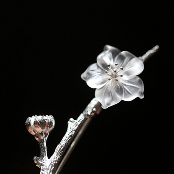 Lotus Fun Real 925 Sterling Silver Natural Quartz Handmade Fine Jewelry Flower in the Rain Design Brooches Pin Broche For Women