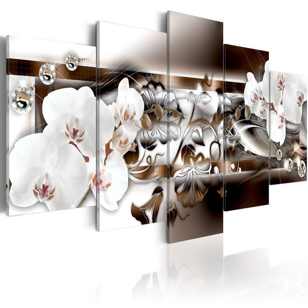 5 Pieces Canvas Prints White Orchid Flower Artwork Paintings Vivid Floral Diamond Painting Modern Picture Wall Decor Home Decoration Unframe