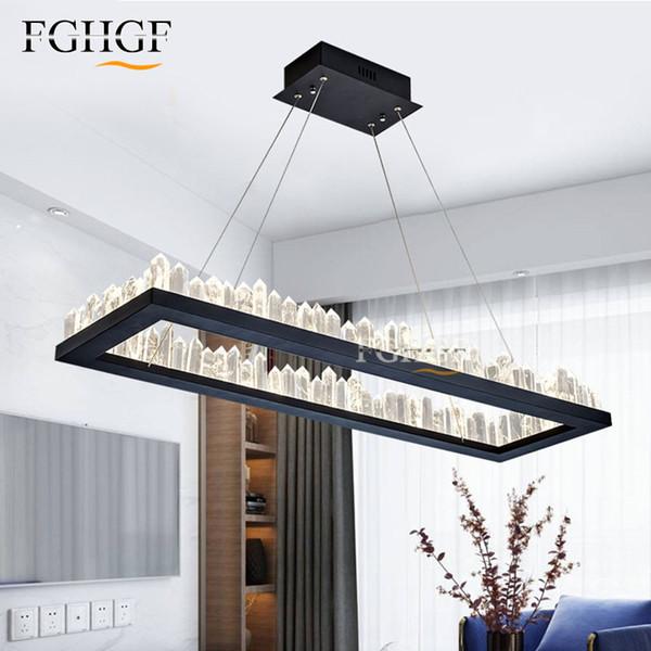 Nouveau Design Moderne LED Lustres En Cristal Lumière Rectangle Noir En Cristal Naturel Lampe lustres de cristal Salle À Manger Chambre Lampe De Bar