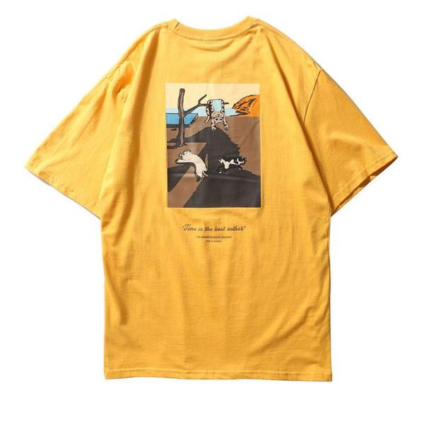 Funny Cats Painting Printed Short Sleeve T Shirts 2018 Summer Mens Streetwear Tops Tees Hip Hop Casual Cotton Tshirts