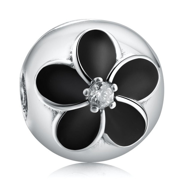 Black Flowers Clip Charms Beads 925 Sterling Silver Enamel Flower Stopper Lock Bead For Jewelry Making DIY Brand Logo Bracelet Accessories
