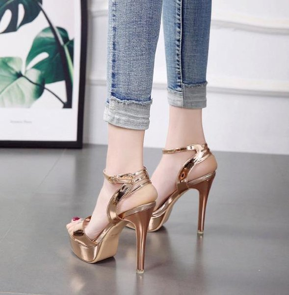 Korean version of the 2018 high heel stiletto platform with a sexy open toe sandals free shipping