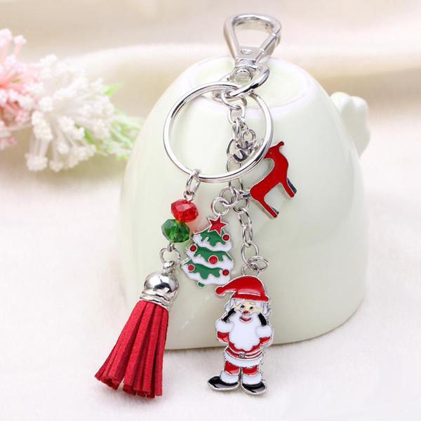 2018 Charms Santa Claus Key Chain Lovely Christmas Tree Key Ring Tassel Keychain Car Key Pendant Jewelry Christmas Gifts