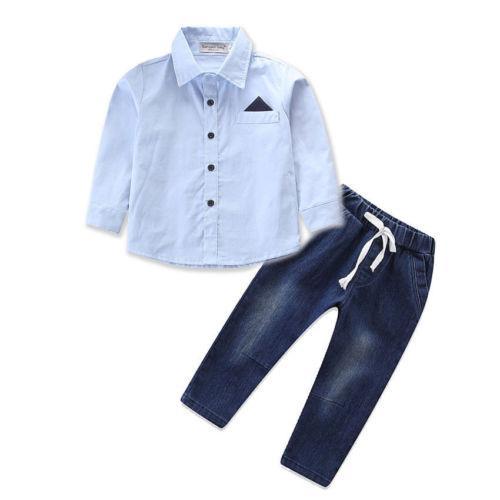 96fe410fa 2PCS Toddler Kid Baby Boy Top Shirt+Jeans Long Denim Pants Outfit Clothes  Set Size 3-8T