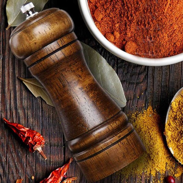 1pc Wooden Salt & Pepper Grinders Salt And Pepper & Spice Grinders Mills Manual Pepper Mill Creative Kitchen Tools For 3 Sizes