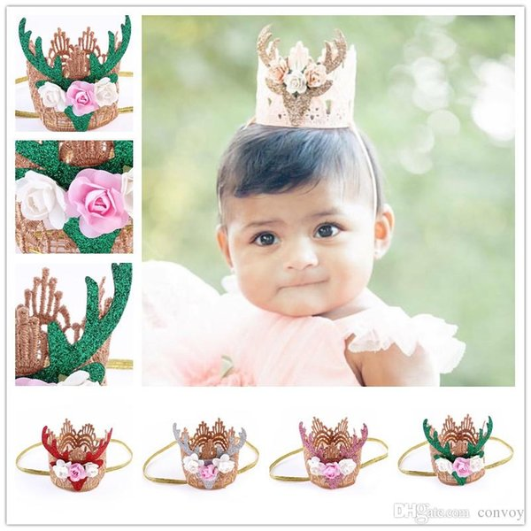 Baby Headbands Girls Christmas Crown Hairband Party Xmas Gift Kids Princess Sparkle Floral Hair Bands Children Hair Accessories KHA128