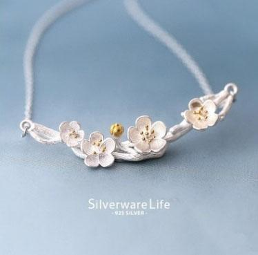 Free shipping 925 sterling silver necklace plum flower pendant branches short necklace choker Clavicle necklace silver jewelry