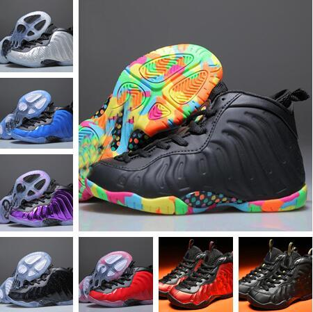 New Children Hardaway Black Blue Olympic Eggplant Galaxry Varsity Red Night Maroon Gold Copper Children Basketball Shoes Sneakers