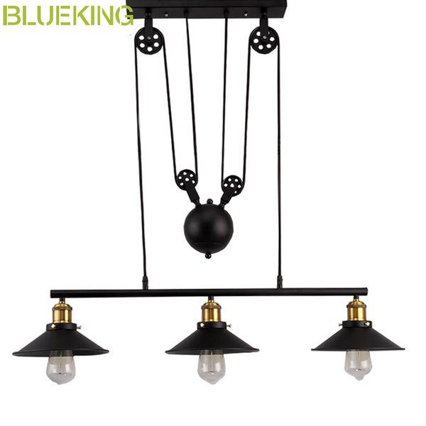 Vintage RH Loft Industrial LED American Country Pulley iron Pendant Lights Adjustable Wire Lamps Retractable Bar Decoration Lighting