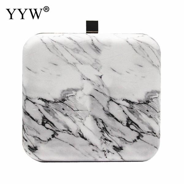 Quadratische PVC Marmor Clutch Bag 2018 Bolsos Mujer Frauen Box Schultertasche Geldbörse weiblich weiß Mini elegante Kette Abend Kupplungen
