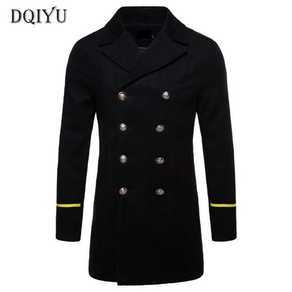 New Boutique Wool Coat Men Autumn Black Windbreaker Jacket Pea Coat Winter Thicken Long Woolen Male Overcoat Europe/US Size