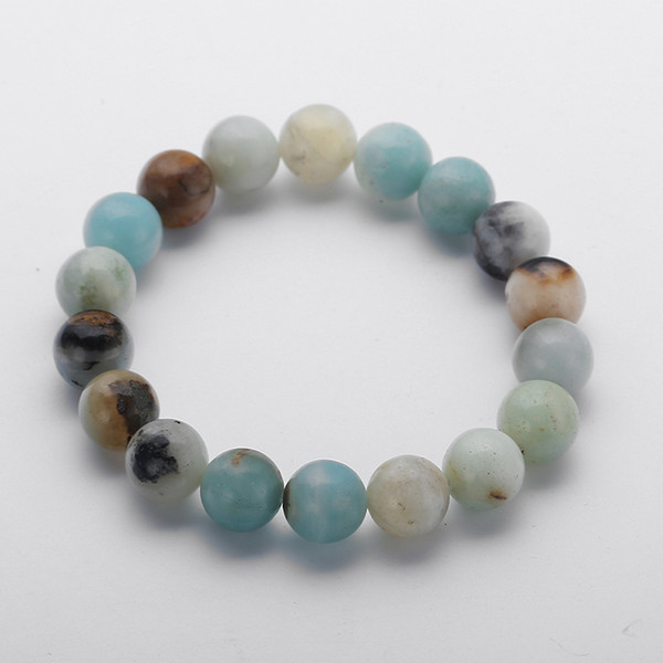 MOODPC New Design Energy Bracelets Made By 10mm Beautiful Natural Amazonite Stone Bracelet bangle