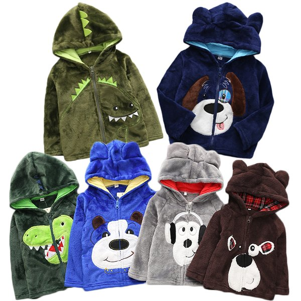 Winter 2018 Villus Thicken Keep Warm Cartoon Hoodie Dinosaur Baby Boy Sweatshirt Velvet Top Rabbit Girls Hoodies Kids Coat 5Yrs Y1892907