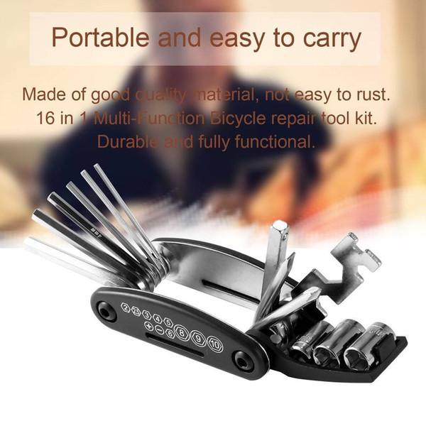Evrensel 16 1 Bisiklet Tamir Tool Kit Çok Fonksiyonlu Bisiklet Çelik Araçları