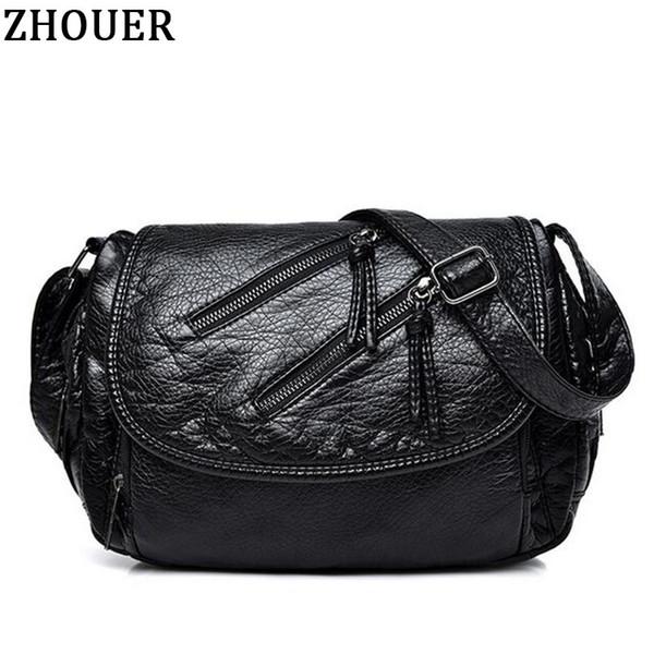 Повседневная Женщины сумки посыльного мягкие искусственная кожа сумка высокого качества мода дамы Crossbody сумки черный Feminina девушки GYF09