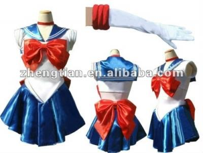 Free Shipping 2015 Sailor Moon Costume Cosplay Uniform Fancy Dress Up Sailormoon Outfit & Glove