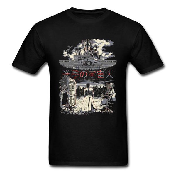 Attack on London T-shirt Uomo Tops Attacking Cosmic People T-shirt Maglietta giapponese Anime Maglietta Maglietta nera Abbigliamento nero