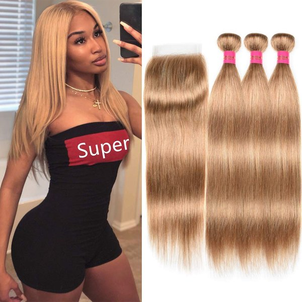 Brasilianisches blondes Menschenhaar mit Bündelspitze gefärbt 27 # 3 Bündel Brasilianische Jungfrau Remy-Haarwebart-Erweiterungen mit Verschluss