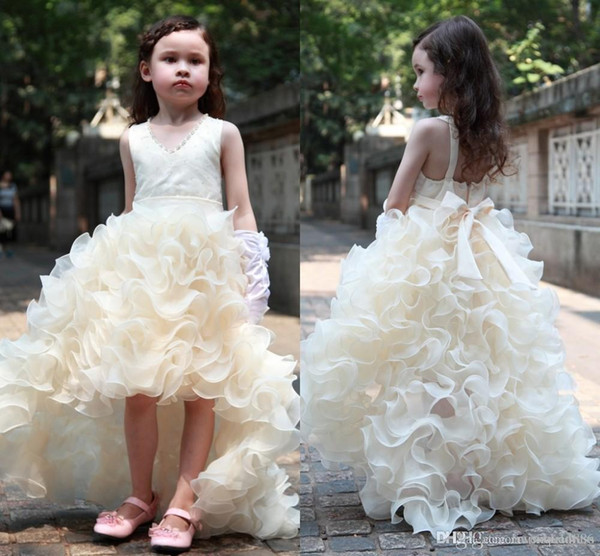Charming Flower Girls Dresses For Weddings Cheap High Low Ruffles Princess Party Girls Pageant First Communion Dress For Kids Teens