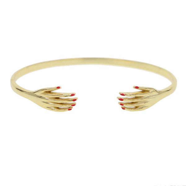 Braccialetto sexy delle donne della mano di colore dell'oro per le donne Braccialetti unici aperti delicati del polsino di fascino dainty dei monili accessori regolabili della mano