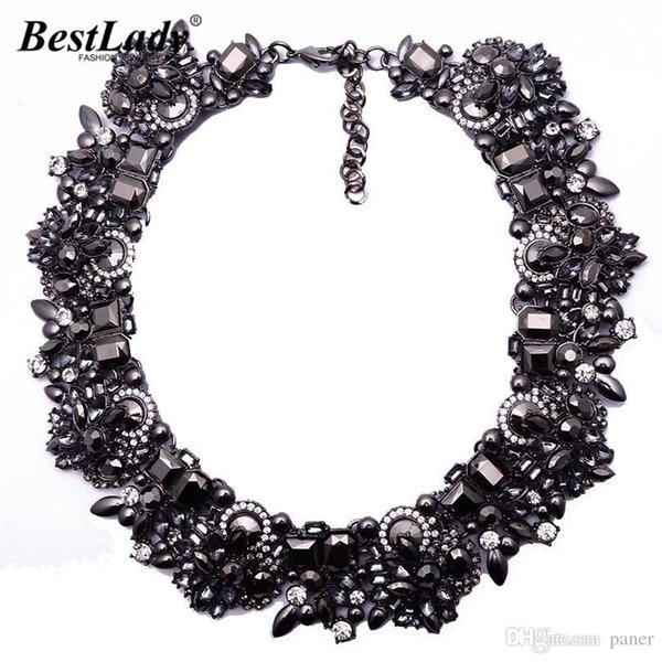 whole saleBest lady New Arrival Fashion Statement Luxury Black ZA Brand Gem Vintage Shourouk Collar Choker Necklace Women Jewelry 3785