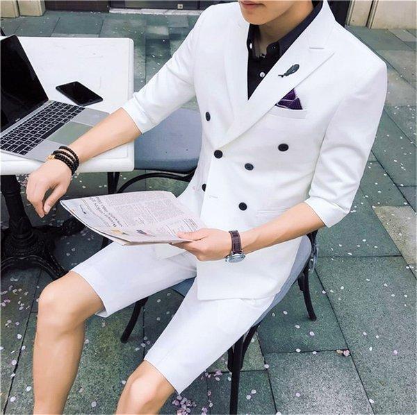 Hübsche 2018 elegante weiße Hochzeit Männer Anzug mit kurzen Hosen Slim Fit Fashion Business Anzüge Young Best Men Sommer Anzüge Set Jacke + Hose
