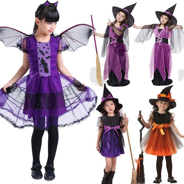 Costumi di Halloween per bambini Bambini Costume da strega Fantasia Fantasia Bambino Viola Strega Dress Cosplay per ragazze Ragazze Regali di Natale