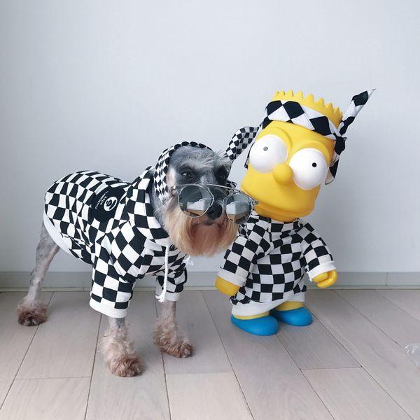 Fashion Plaid Dog Hoody Cute Teddy Puppy Schnauzer Apparel Winter Warm Outwears Small Dog Sweater GoodQuality Pet Apparel